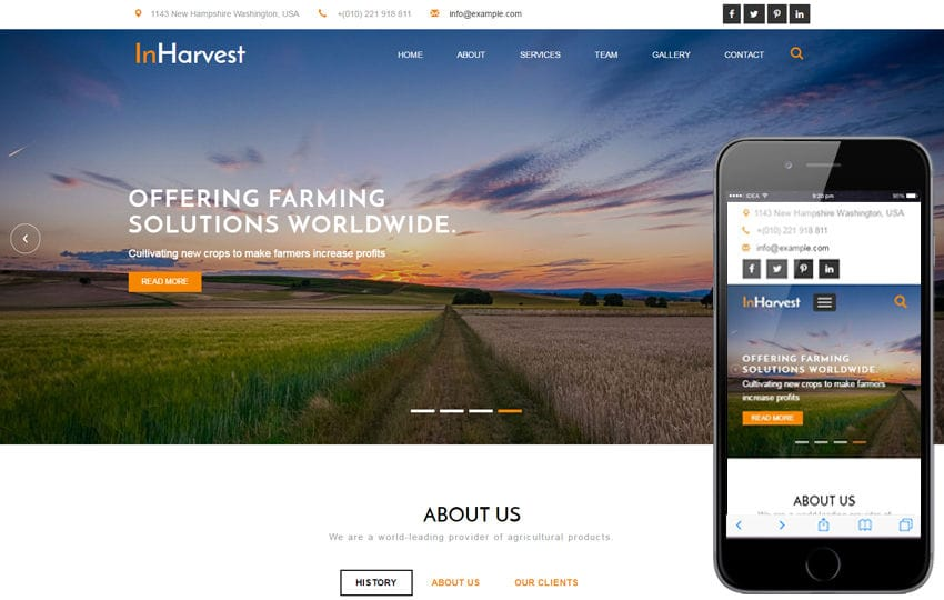 In Harvest an Agriculture Category Flat Bootstrap Responsive Web Template