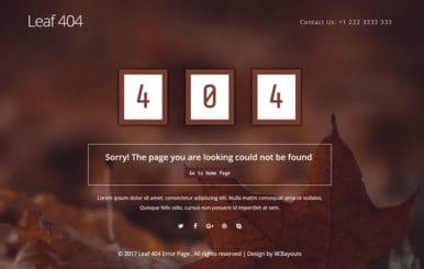 Leaf 404 Error Page Flat Responsive Widget Template