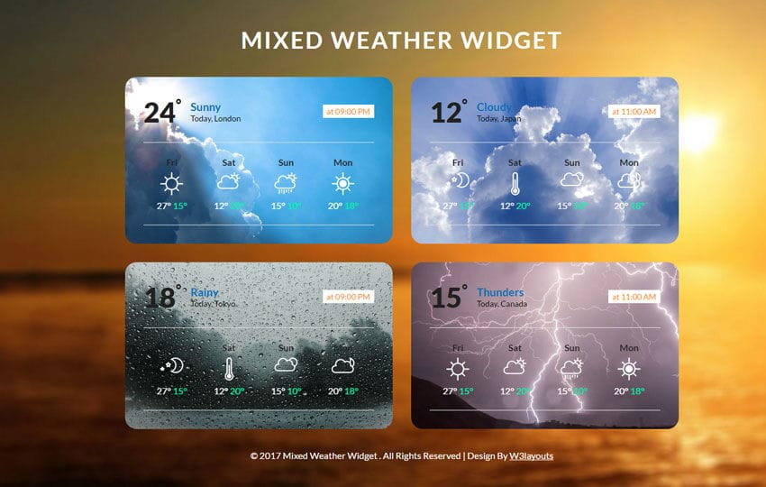 Mixed Weather Widget Flat Responsive Widget Template