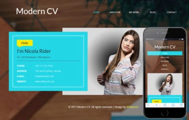 Modern CV a Personal Category Bootstrap Responsive Web Template