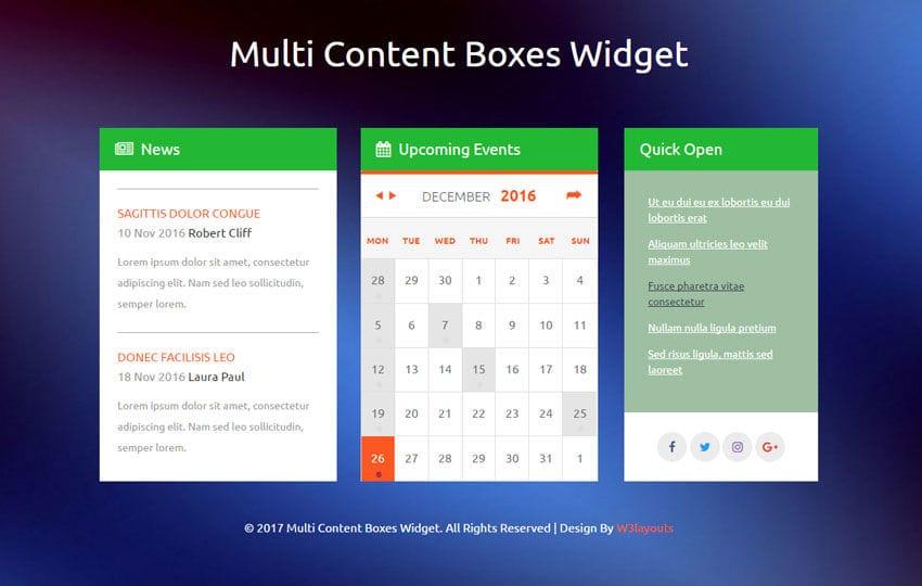 Multi Content Boxes Widget a Flat Responsive Widget Template
