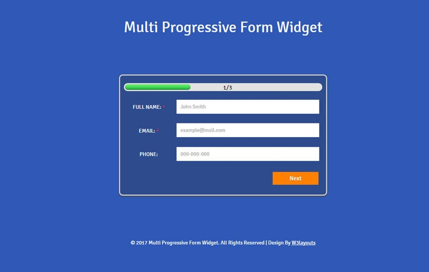 Multi Progressive Form a Flat Responsive Widget Template