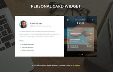 Personal Card Widget a Flat Responsive Widget Template