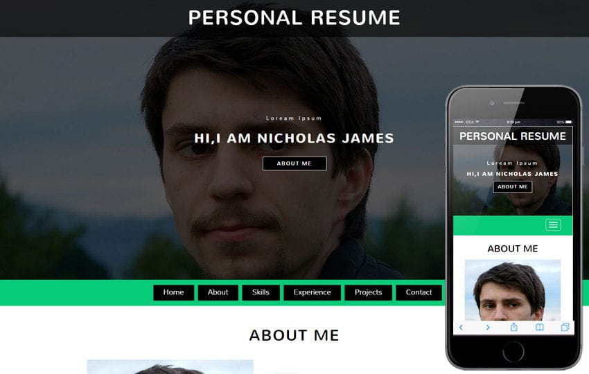 Personal Resume a Personal Category Bootstrap Responsive Web Template