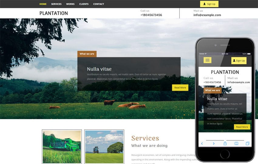 Plantation an Agriculture Category Flat Bootstrap Responsive Web Template Mobile website template Free