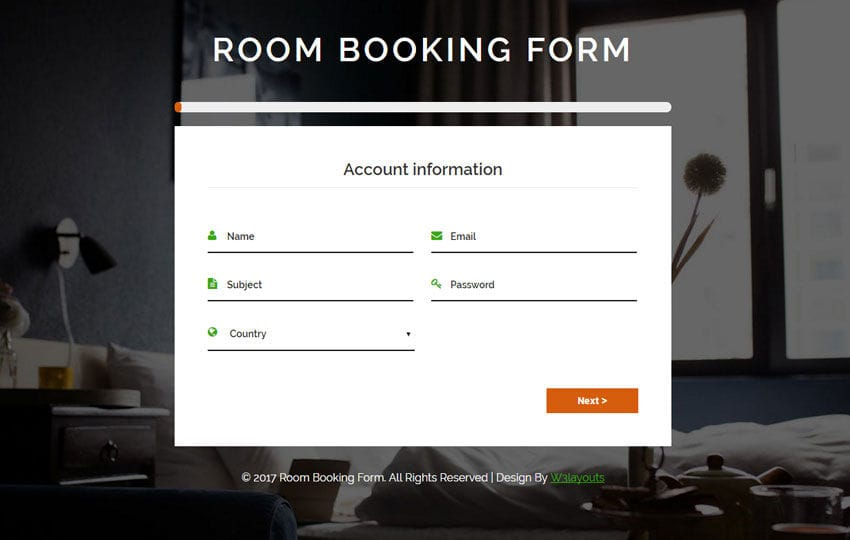 Room Booking Form Flat Responsive Widget Template Mobile website template Free