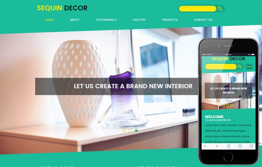 Sequin Decor an Interior Category Flat Bootstrap Responsive Web Template Mobile website template Free