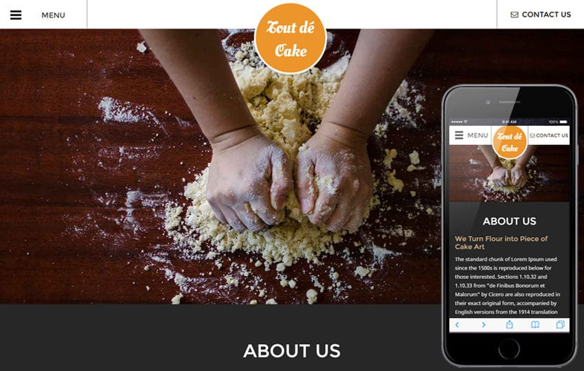 Tout de Cake a Hotels and Restaurants Responsive Web Template Mobile website template Free