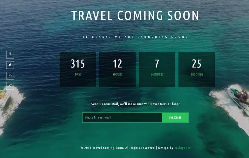 Travel Coming Soon a Flat Responsive Widget Template Mobile website template Free