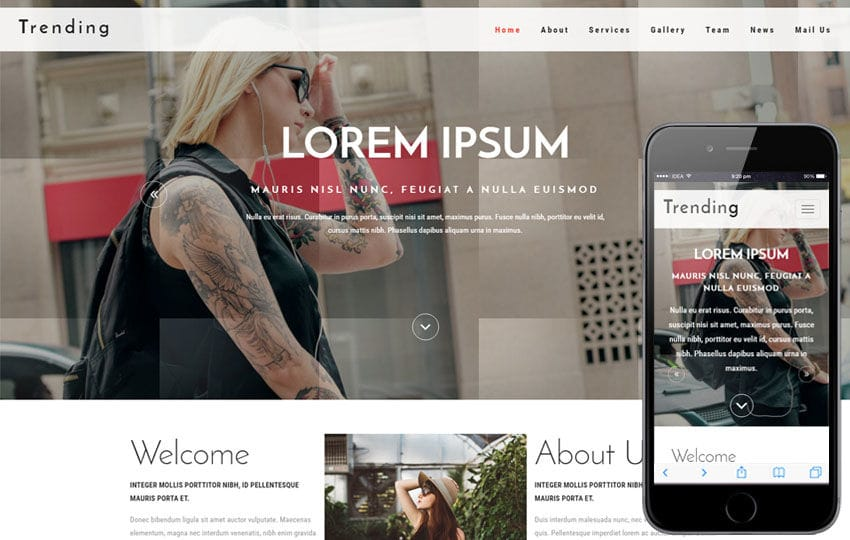 Trending a Fashion Category Bootstrap Responsive Web Template Mobile website template Free