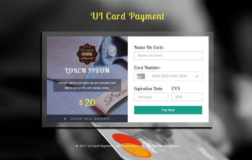 UI Card Payment Flat Responsive Widget Template Mobile website template Free