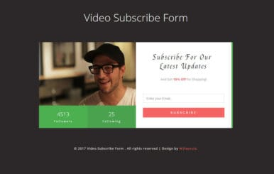 Video Subscribe Form Flat Responsive Widget Template