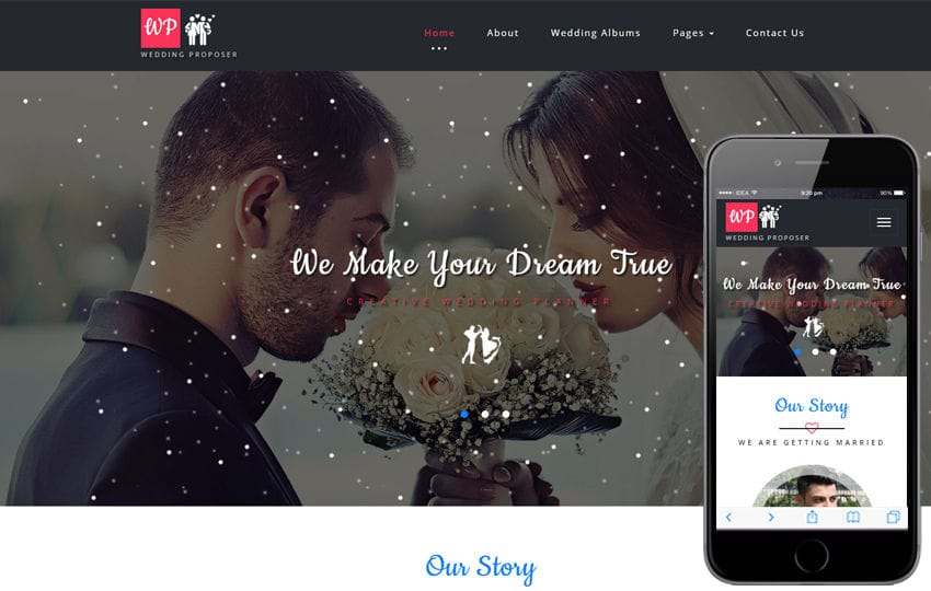 Wedding Proposer a Wedding Category Bootstrap Responsive Web Template Mobile website template Free