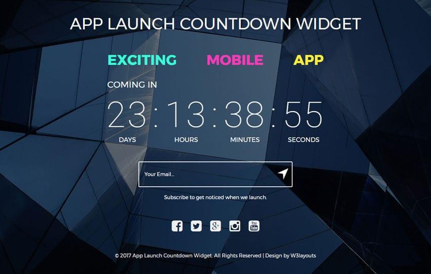 App Launch Countdown Widget a Flat Responsive Widget Template Mobile website template Free