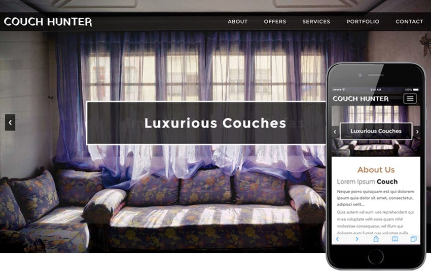 Couch Hunter an Interior and Furniture Bootstrap Responsive Web Template Mobile website template Free