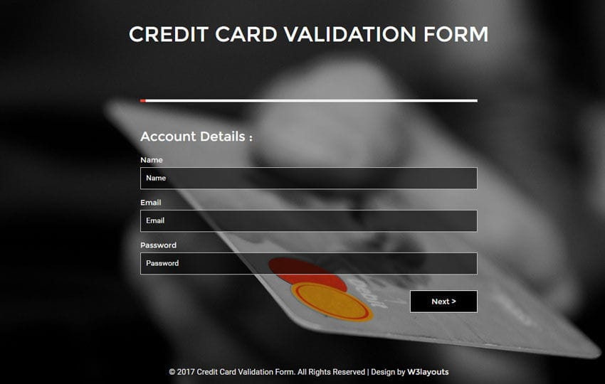 Credit Card Validation Form a Flat Responsive Widget Template