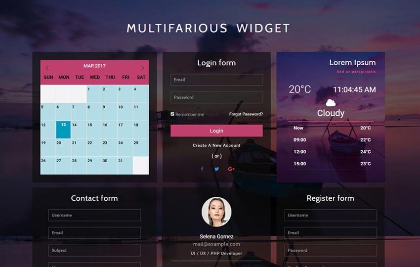 Multifarious Widget a Flat Responsive Widget Template