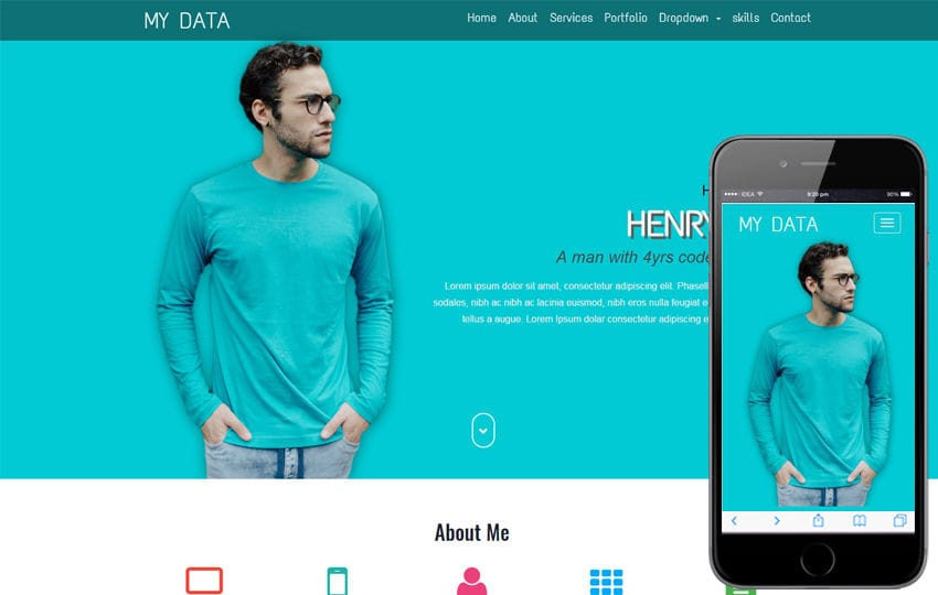 My Data a Personal Category Flat Bootstrap Responsive Web Template Mobile website template Free