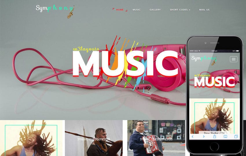 Symphony an Entertainment Flat Bootstrap Responsive Web Template Mobile website template Free