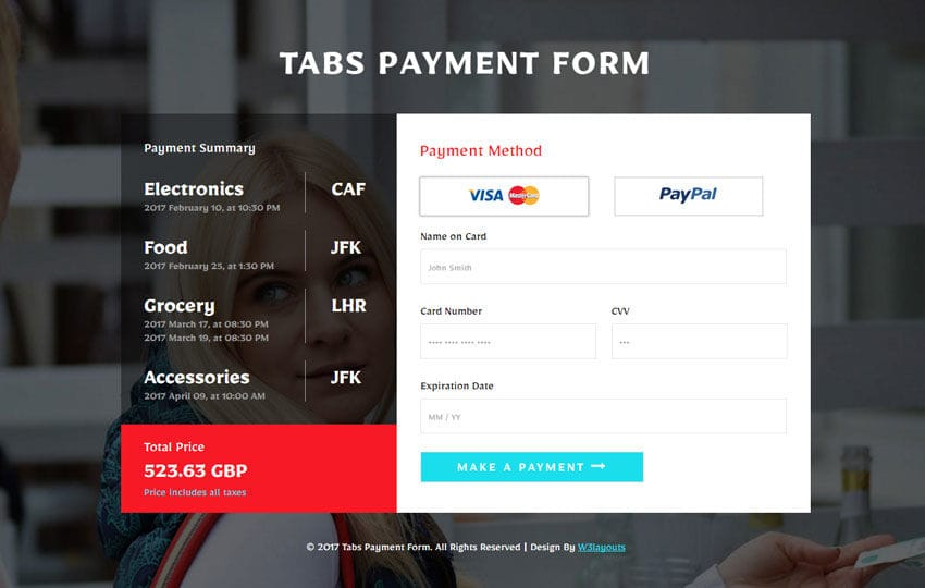 Tabs Payment Form Flat Responsive Widget Template