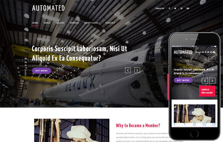 Automated an Industrial Flat Bootstrap Responsive Web Template