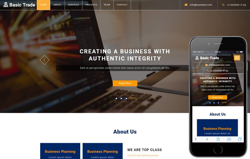 Basic Trade a Corporate Business Bootstrap Responsive Web Template