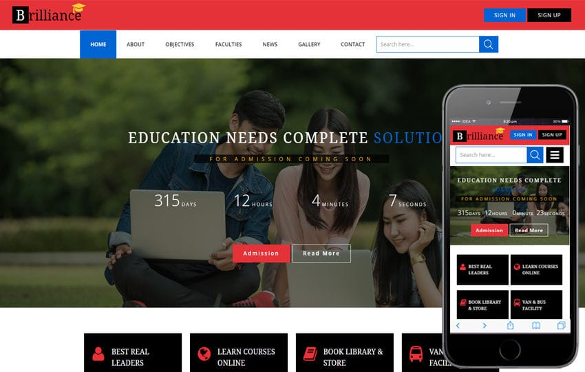 Brilliance an Education Category Flat Bootstrap Responsive Web Template