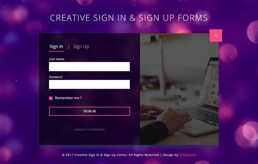 Creative Sign In and Sign Up Forms a Responsive Widget Template
