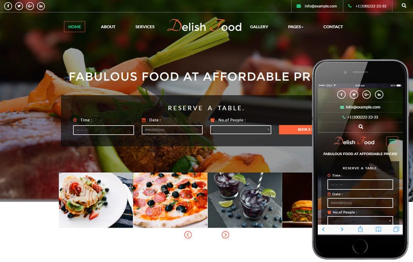 Delish Food a Hotels and Restaurants Flat Responsive Web Template Mobile website template Free