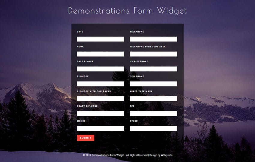 Demonstrations Form Widget Flat Responsive Widget Template