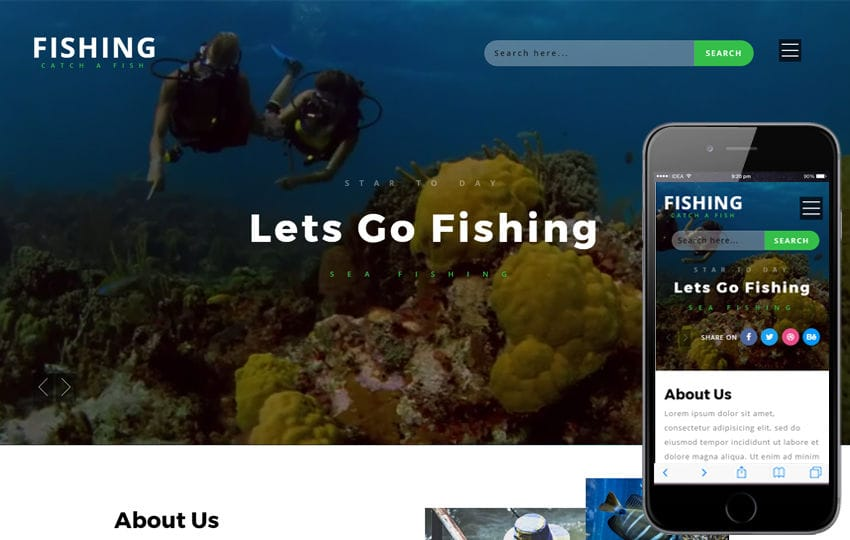 Fishing an Animals Category Bootstrap Responsive Web Template Mobile website template Free