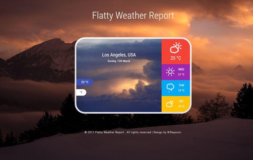 Flatty Weather Report Responsive Widget Template