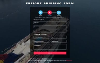 Freight Shipping Form a Flat Responsive Widget Template