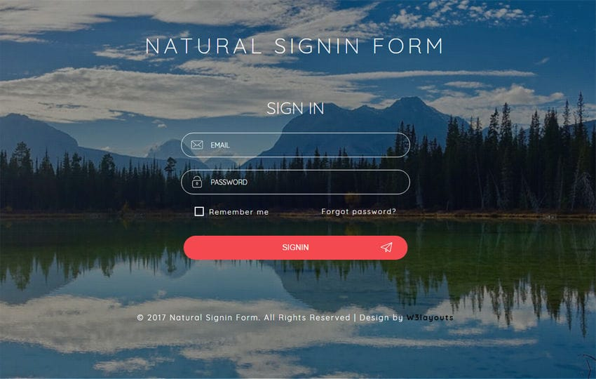 Natural Signin Form a Flat Responsive Widget Template