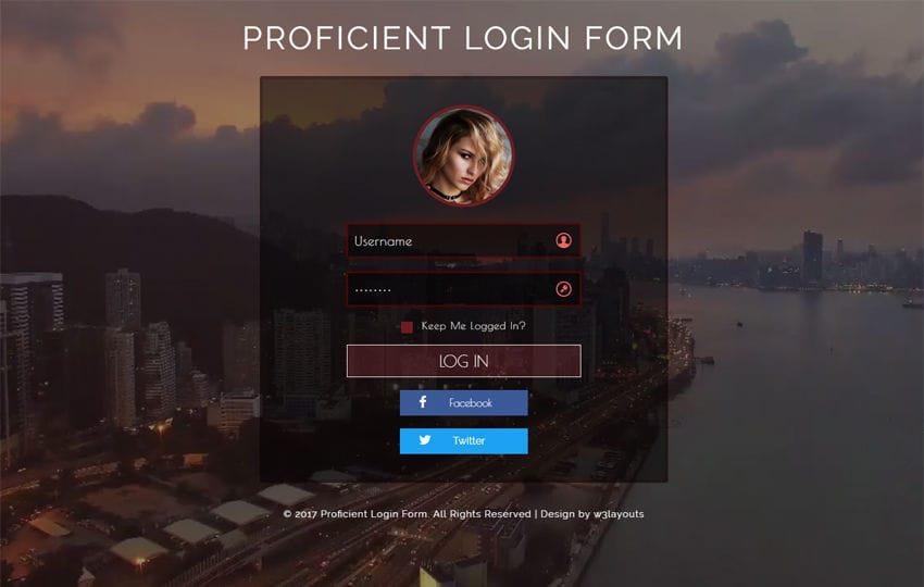 Proficient Login Form Flat Responsive Widget Template