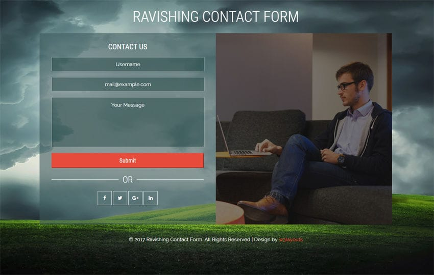 Ravishing Contact Form Flat Responsive Widget Template