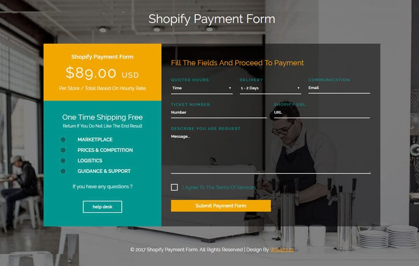 Shopify Payment Form Flat Responsive Widget Template
