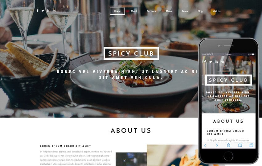 Spicy Club a Hotels and Restaurants Bootstrap Responsive Web Template Mobile website template Free