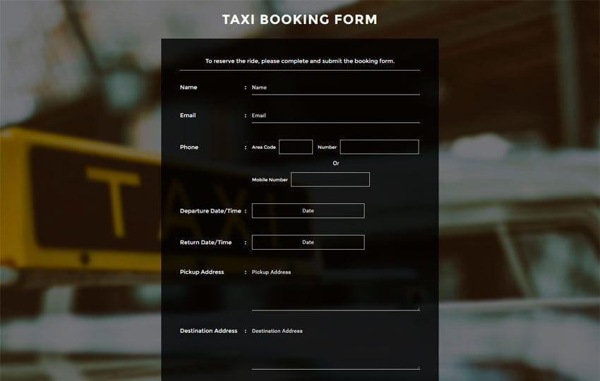 Taxi Booking Form a Flat Responsive Widget Template
