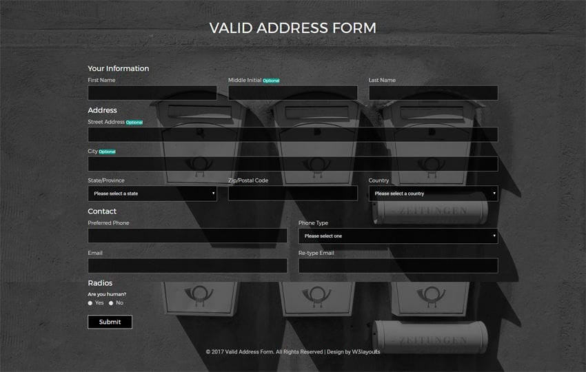 Valid Address Form a Flat Responsive Widget Template