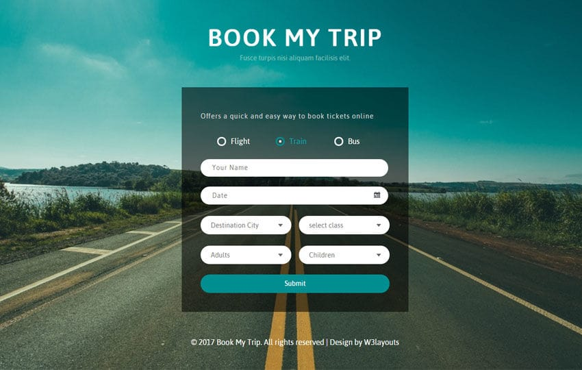 Book My Trip a Flat Responsive Widget Template