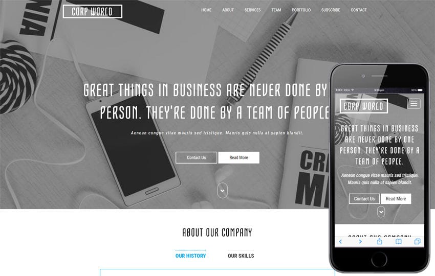 Corporate World a Corporate Bootstrap Responsive Web Template