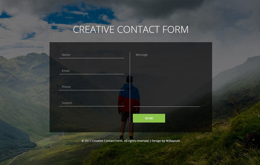 Creative Contact Form Flat Responsive Widget Template