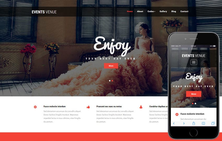 Events Venue a Wedding Category Bootstrap Responsive Web Template Mobile website template Free