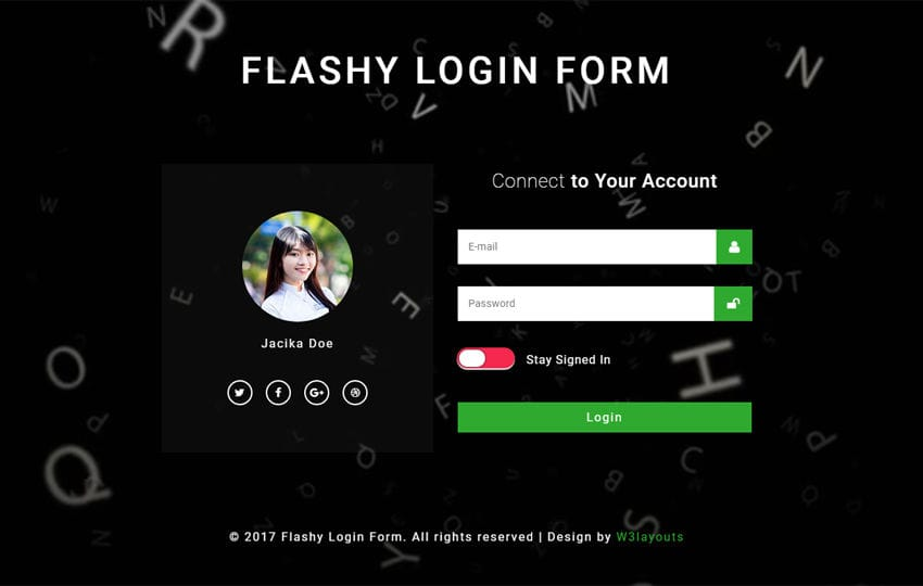 Flashy Login Form Responsive Widget Template