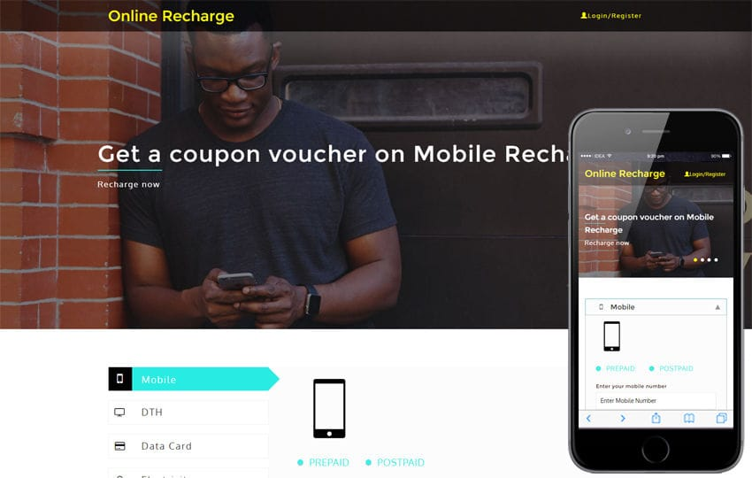 Online Recharge an Online Bill Payments Bootstrap Responsive Template Mobile website template Free