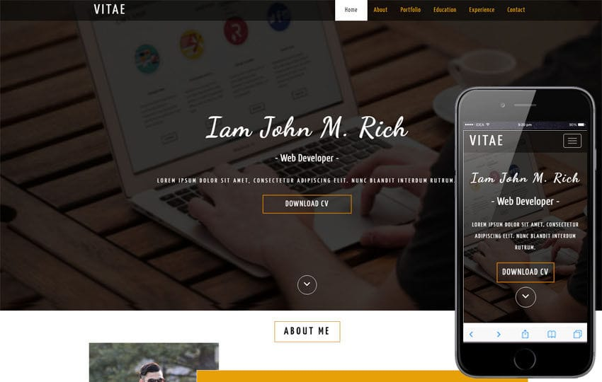 Vitae a Personal Websites Flat Bootstrap Responsive Web Template Mobile website template Free
