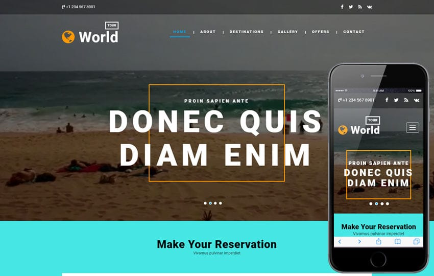 World Tour a Travel Category Bootstrap Responsive Web Template Mobile website template Free