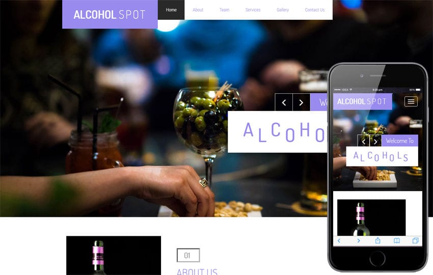 Alcohol Spot a Restaurant Category Bootstrap Responsive Web Template Mobile website template Free