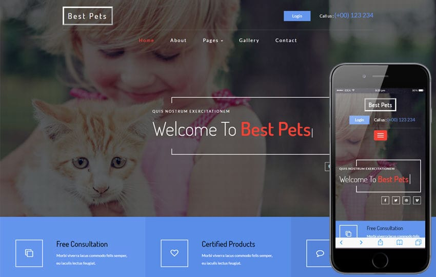 Best Pets an Animals Category Bootstrap Responsive Web Template Mobile website template Free